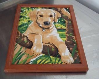 Vintage Oil Painting of a Dog Labrador Pet