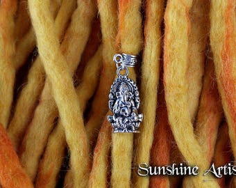 Ganesh charm, dread charm, Tibetan silver, Ganesha pendant, Elephant God charm, dread accessories, necklace pendant, hair wrap charm, boho