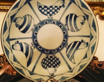 Vintage Andrea by Sadek Blue and White Chicken Plate
