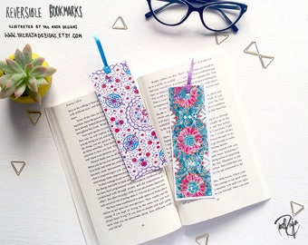 Blue Floral tiled Islamic Patterned Reversible Bookmark - Geometric Pattern - Handmade in UK - Turkish - Ramadan