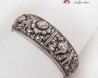 Wide Repousse Asian Motif Cuff Bracelet Sterling Silver 1950