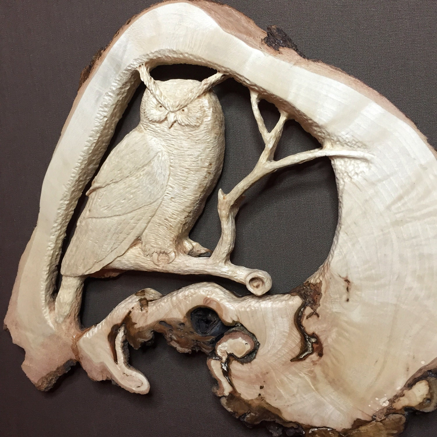 Spring sale owl wood carving hand carved wall art