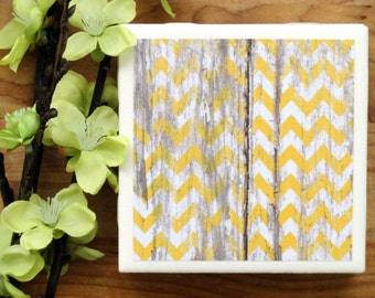 Chevron Coasters - Coasters - Drink Coasters - Tile Coasters - Ceramic Coasters - Yellow Coasters - Ceramic Tile Coasters - Coaster Set
