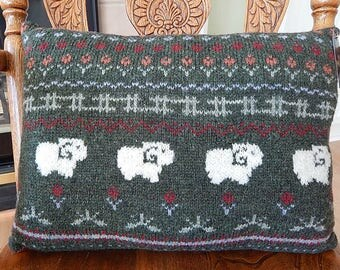 UpCycled Wool Sweater Pillow, Green with Sheep and Flowers