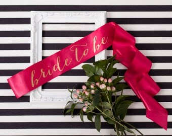 Bride-To-Be Sash, Bachelorette Sash, Bride Gift, Bridesmaid Sash, Neon Sash, Bachelorette Party, Bridal Sash, Gold on Pink Sash