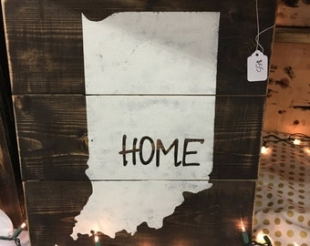 READY TO SHIP / State Sign / Indiana State Sign / Indiana Sign / State Decor / State Wooden Sign / Indiana Home Decor