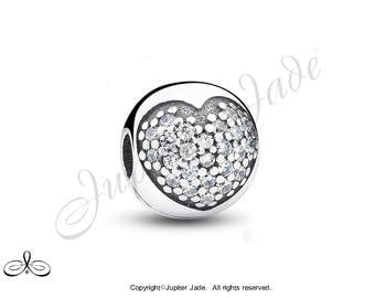 Authentic 925 Sterling Silver European Bracelet Charm Stop CLIP w Pave Cubic Zirconia - CZ Heart - Size compatible w Pandora