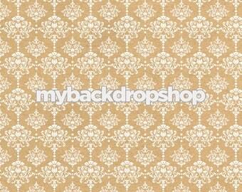 3ft x 3ft Beige Damask Wallpaper Photo Prop - Tan Damask Patterned Photography Backdrop - Neutral Wedding Photography Prop - Item 3218