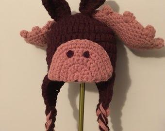 Newborn moose crochet hat- photo prop- 0-6 week size