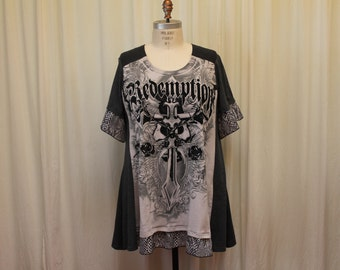 Cross print  shirt Gothic tunic religious top Plus size tunic Gray Up Cycled Steampunk womens Reconstructed tshirt  Altered clothing 2X- 3X