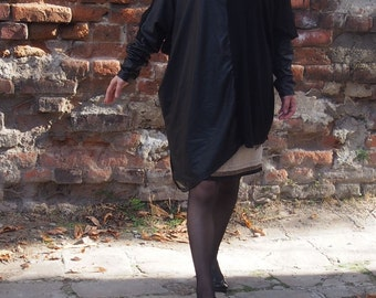 Black Top / Extravagant Tunic with leather / Asymmetric Tunic / Plus Size Tunic / oversize dress / long sleeved tunic & Nara AT028