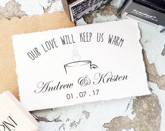 Wedding Stamps, Hot Chocolate Stamps, Wedding Rubber Stamps, Hot Cocoa Wedding Tags, Wedding Self Inking, Winter Wedding Favors CS-10294