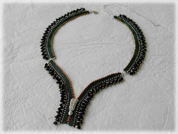 Zip necklace beading TUTORIAL