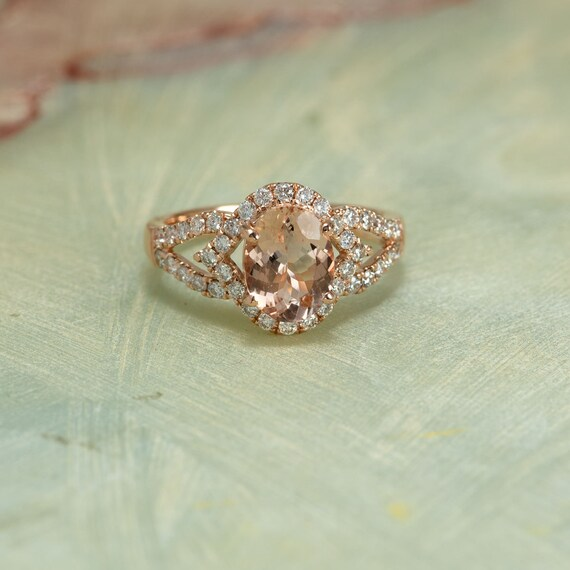 Rose Gold Solid 14K Diamond Halo Engagement Ring Center Is A 9x7MM Oval Morganite