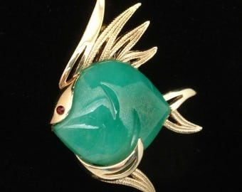 Green Fish Brooch Pin