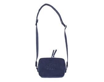 Navy blue suede handbag, Small square shaped shoulder bag, Crossbody purse, Get Real embossed, Evening bag, Women fashion SS17, Avant garde