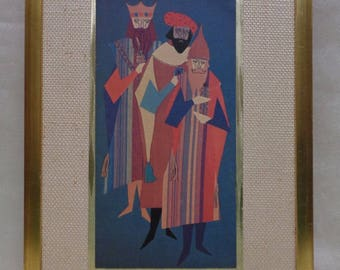 Colorful Three Wise Men Print w. Shiny Gold Border & Gold Antique Woven Frame
