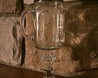 Mason Jar Toasting Glass with Handle