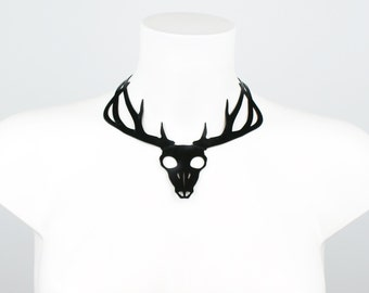 Latex Deer Skull Statement Necklace