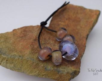 Purple Encased Handmade Boro Glass 5 Bead Set