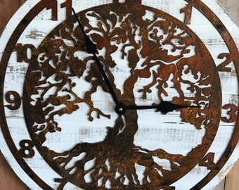 Pallet Wood Clock - Wood and Metal Clock - Wooden Clock - Wood Clock - Tree of Life - Tree of Life Clock - Rustic Wall Decor - Large Clock