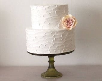 """Ready to ship.  Faux two tier rustic Cake.  Fake two tier Cake. Cake for photo shoot. Non edible materials. Fits on  9"""" or 10"""" cake"""" base."""