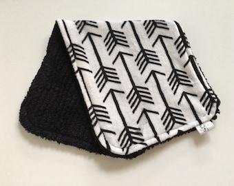 CLEARANCE Minky and Chenille Burp Cloth Black on White Arrow Minky Print with Black Chenille