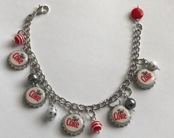 Diet Coke Handmade MINI Bottle Cap  bracelet with beads altered art