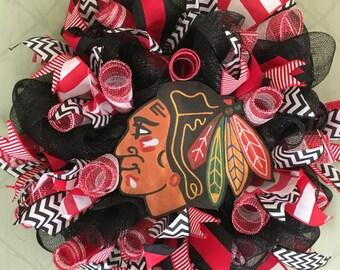 Chicago Blackhawk Wreath Chicago Sports Wreath Hockey Decor Chicago Blackhawks Hockey Wreath