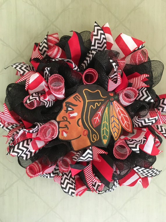 Chicago Blackhawk Wreath-Chicago Sports Wreath-Hockey Decor-Chicago Blackhawks-Hockey Wreath-Chicago Sports Decor-Gifts for Him-Gift for Her