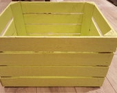 LIME Painted European apple box fruit crate shabby chic  Ideal toy box storage shelves bookcase wedding display decor shop display