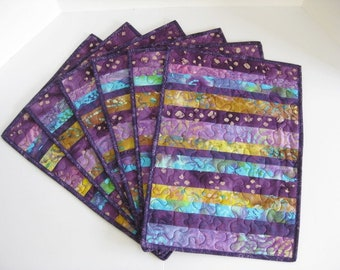 Purple Quilted Placemats, Batik Placemats, Handmade Placemats