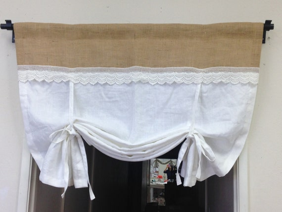 Linen Tie Up Curtains White Pull Up Valance Shabby Chic
