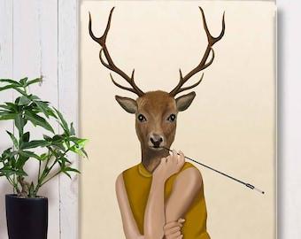 Large Wall art Canvas Print Animal wall art - Dear Audrey deer art decor Deer print art Deer canvas print Deer canvas art decor Deer poster