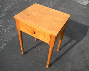 Antique(Circa1840's) American Tiger Maple Side Table