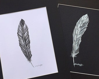 Original Black and White Matted Feather Drawing
