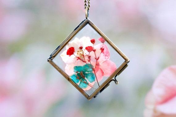 Floral diamond locket  Necklace - vintage- hydrangea flower -pressed flowers- glass jewelry, flower pendant