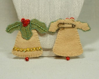 Wool Felt Christmas Bell , Bell Brooch, Felt Bell Pin, Wool Felt Christmas Decoration *Ready to ship
