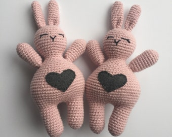 Bunny Rabbit Toy: Love Bunny, Pink Nursery Toy, Valentines Day Gift, Rose Colored Bunny, Crochet Bunny Rabbit, Pink Bunny Rabbit