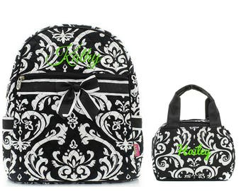 Matching Damask Black Personalized Kids Quilted Backpack & Lunch Bag Set