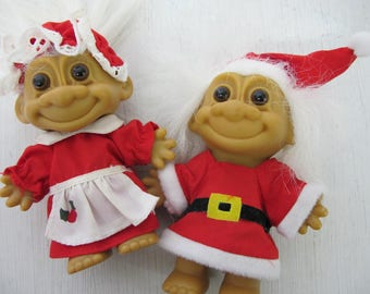 Christmas Troll Dolls Russ Mr and Mrs Santa Claus