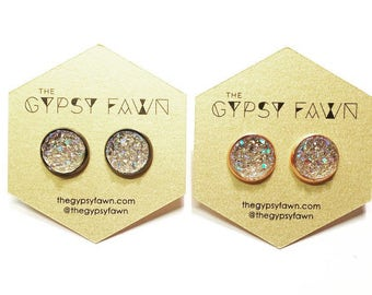Champagne Large Galaxy Druzy Stud Earrings
