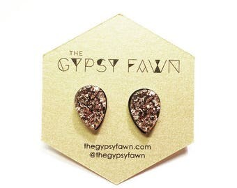 Rose Gold Teardrop Druzy Galaxy Stud Earrings