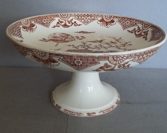 Antique Transferware Compote - 19th Century Transferware Compote - 1880s English Transferware Compote