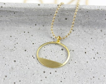 Filled Cirle - gold-plated necklace A64