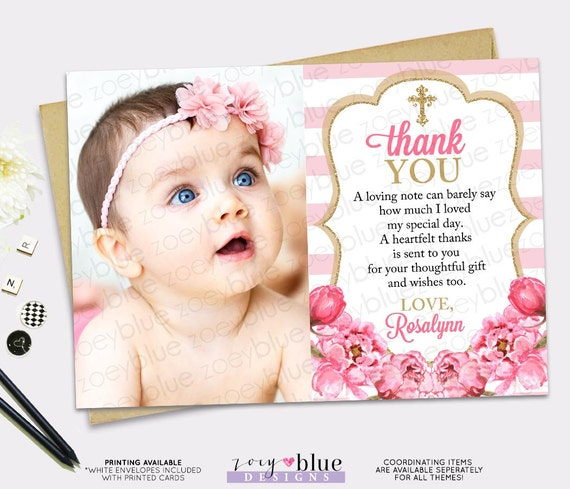 Pink Gold Thank You Card - Girl Floral Picture Thank You ...