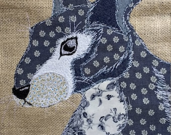 Patchwork free motion embroidered hare/rabbit cushion