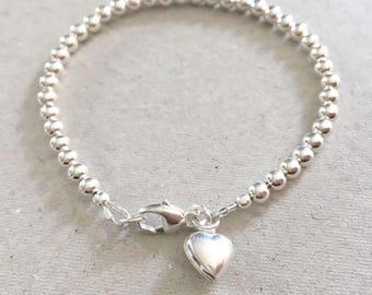 Sterling Silver Ball Charm Bracelet, Silver Heart Charm Bracelet, Silver Bead Bracelet, Silver Jewelry Gift For Her, On Trend Bracelet,