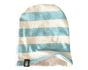 baby slouchy beanie, slouchy beanie, baby beanie, baby hat, beanie, slouchy hat, Light blue strip reversible slouchy beanie