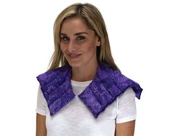 END OF SALE! Heating Pad Microwaveable Wrap for Neck & Shoulders. Hot and Cold Therapy. Purple Flowers